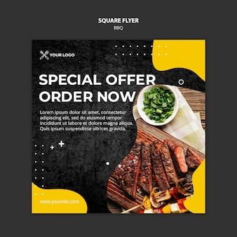 Kwadraat flyer voor barbecue restaurant Gratis Psd