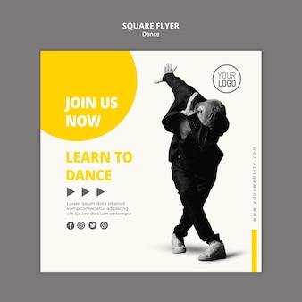 Kwadraat flyer voor danslessen