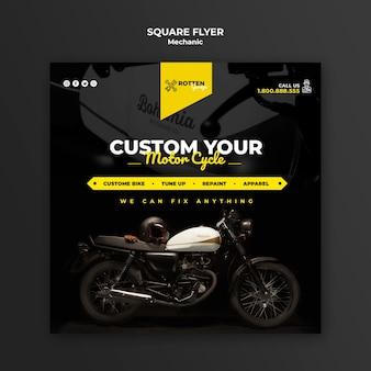 Kwadraat flyer voor motorfietsreparatiewerkplaats