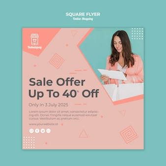 Kwadraat flyer voor online winkelen met verkoop