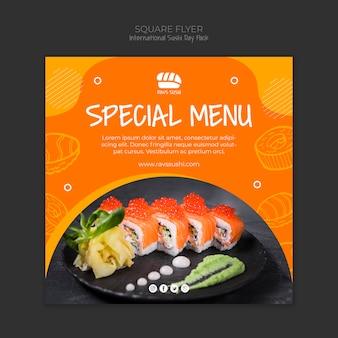 Kwadraat flyer voor sushi restaurant
