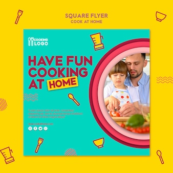 Kwadraat flyer voor thuis koken