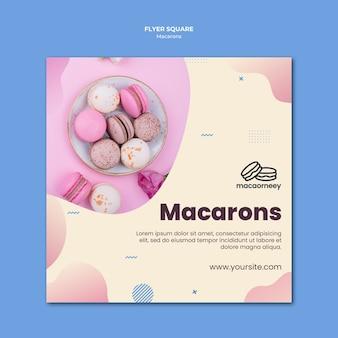 Kwadraat sjabloon folder met macarons