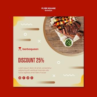 Kwadraat sjabloon voor spandoek voor barbecue restaurant