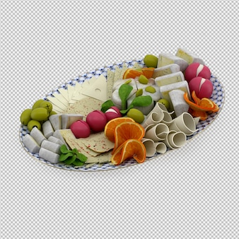 L'alimento isometrico sul piatto 3d rende