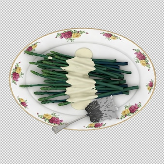 L'asparago isometrico 3d rende