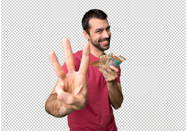 L'uomo prende un sacco di soldi felici e contando tre con le dita