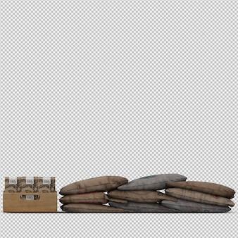 La borsa di caffè isometrica 3d isolata rende
