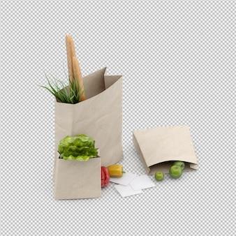 La borsa isometrica 3d di grosery rende