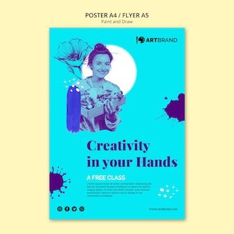 La creatività è nel tuo modello di poster di mani