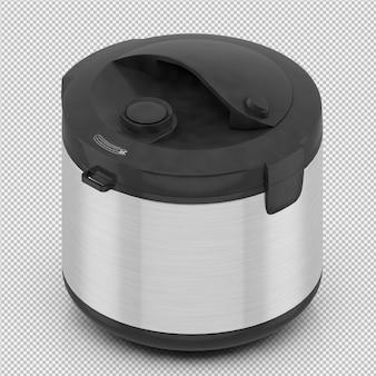 La friggitrice isometrica 3d isolata rende