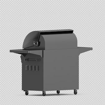 La griglia isometrica 3d del barbecue isolata rende