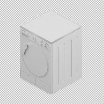 La macchina isometrica della lavanderia 3d rende