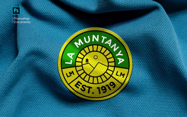 La muntanya stof geborduurd logo mockup ontwerpsjabloon