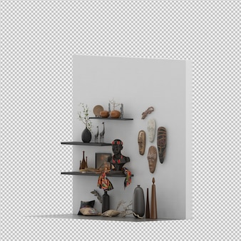 La parete con le maschere ed i vasi 3d rendono