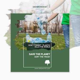 La plastica uccide il modello di poster quadrato di terra