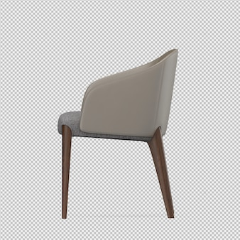 La sedia isometrica 3d isolata rende
