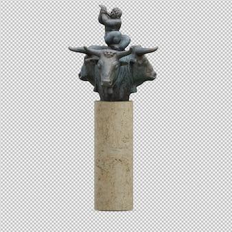 La statua 3d degli animali isolata rende
