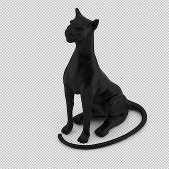 La statua animale 3d isolata rende