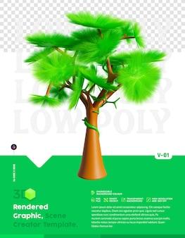 Laag poly boom 3d-rendering geïsoleerd