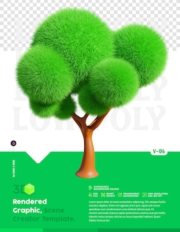 Laag poly boom 3d-rendering