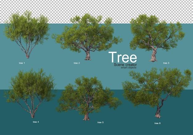 Laat de resultaten zien van verschillende boomarrangementen