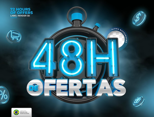 Label 48 uur aan aanbiedingen in brazilië render 3d-sjabloon in het portugees voor marketing