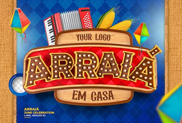 Label arraia festa junina in brazilië 3d render met verlichting