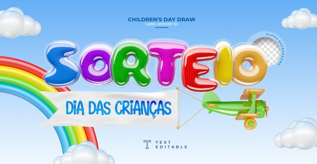 Label loterij kinderdag 3d render in brazilië sjabloonontwerp in het portugees