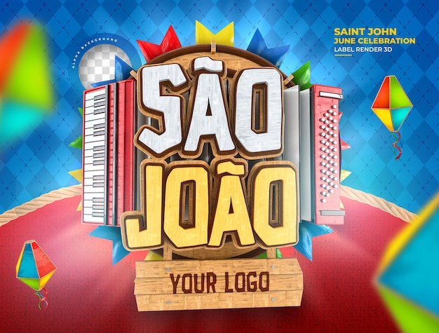 Label sao joao festa junina 3d render brazilië ballon realistisch