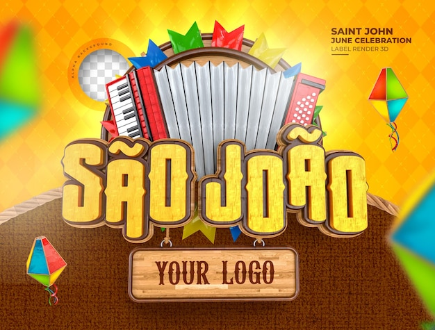 Label sao joao festa junina geen brazilië 3d render maïs ballon realistisch