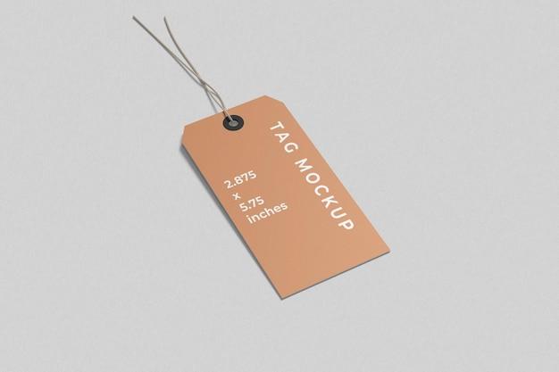 Label tag mockup hoge hoekweergave