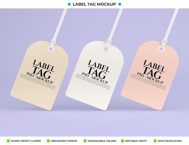 Label tag mockup ontwerpweergave