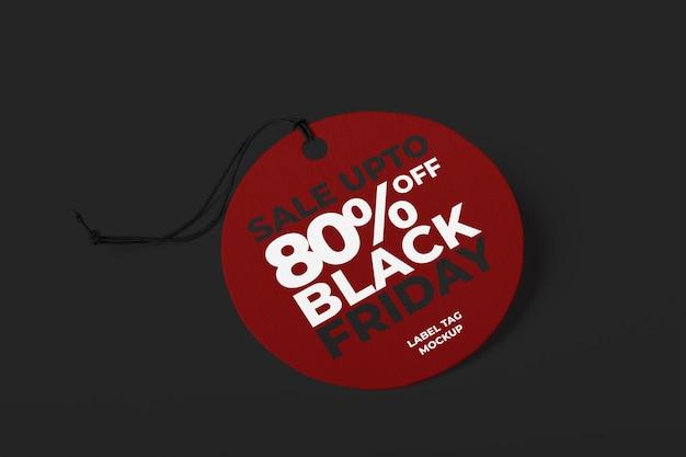 Label tag mockup-sjabloon voor zwarte vrijdag