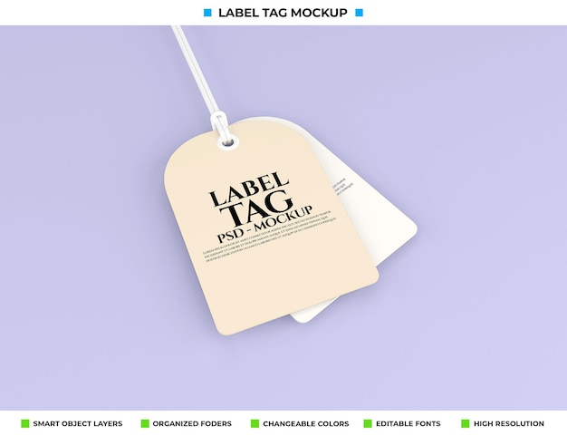 Label-tag mockup-weergave