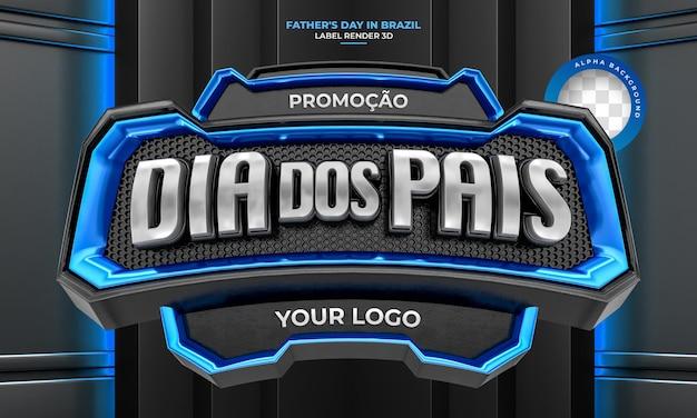 Label vaders dag 3d render sjabloonontwerp