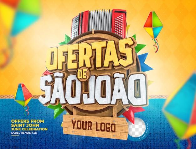 Labelaanbiedingen van sao joao 3d render brazilië realistisch