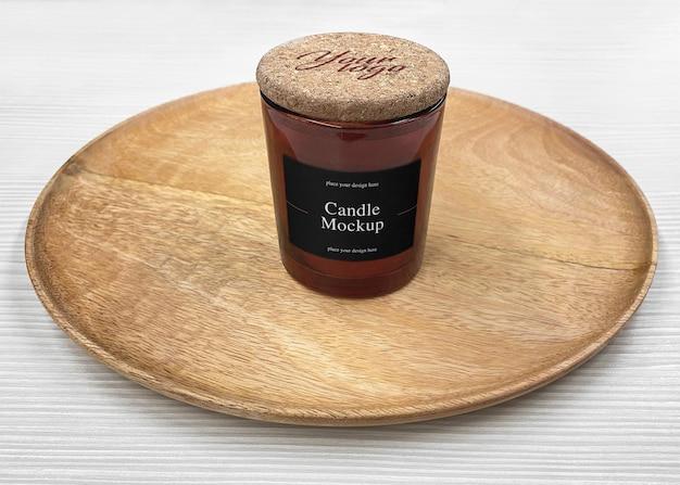 Labelmodel van de glazen pot met handgemaakte kaars
