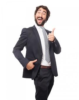 Lachende man met duim omhoog