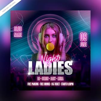 Ladies night flyer sjabloon of social media post