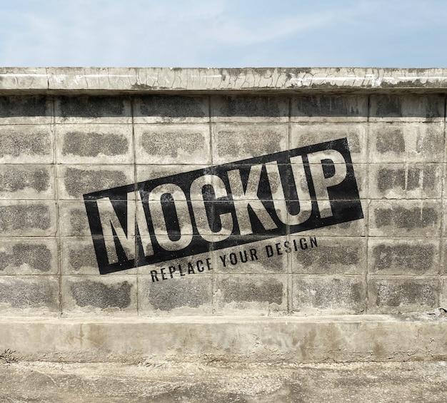 Ladrillo cemento grunge maqueta de pared realista