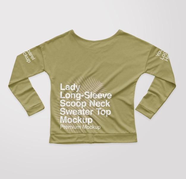 Lady longsleeve scoop neck sweater back top mockup