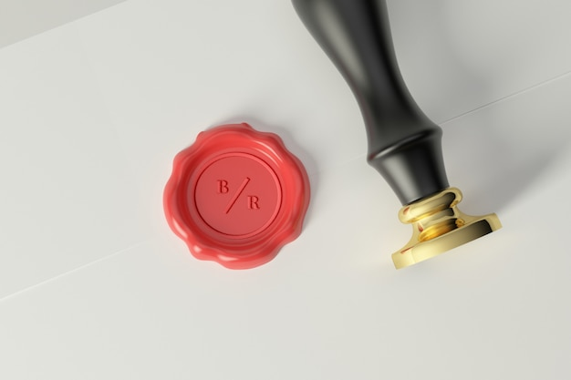 Lakzegel stempel logo mockup