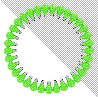 Lampadine verdi che formano un'illustrazione 3d della struttura