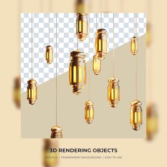 Lámpara tradicional 3d con concepto de luna creciente