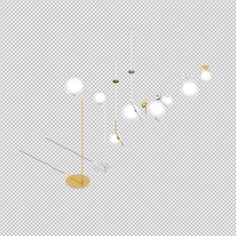 Lámparas isométricas 3d renderizadas aisladas
