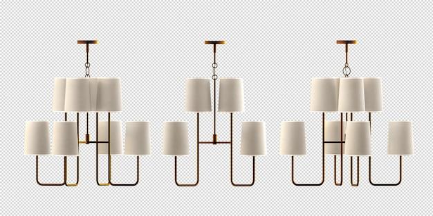 Lampen in vaas in 3d-rendering geïsoleerd