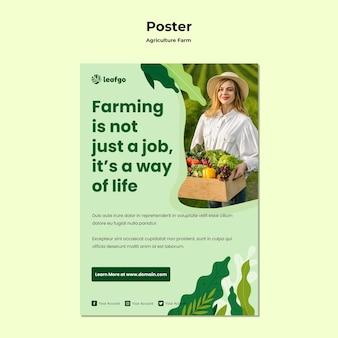 Landbouw boerderij concept poster sjabloon
