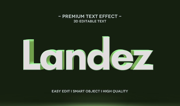 Landez 3d-tekststijleffectsjabloon