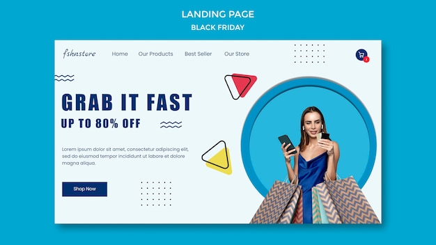 Landing page para black friday con mujer y triángulos.